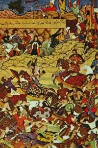 Litografia raffigurante Gengis Khan in battaglia preceduto da Gebe, uno dei suoi generali.