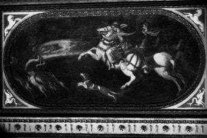 Fregio con storie di Enea e Didone, particolare di un affresco di Pietro Bonaccorsi