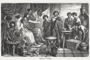Raffigurazione di Ulisse a Itaca