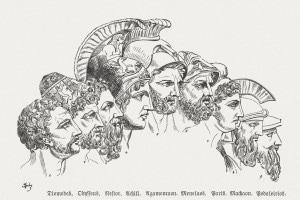 Disegno raffigurante gli eroi della Guerra di Troia