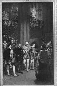 Francesco I e Carlo V visitano l'abbazia di Saint Denis. Opera realizzata da Gros e conservata al Museo del Louvre di Parigi.