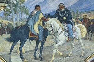 Affresco rappresentante l'incontro tra Garibaldi e Vittorio Emanuele II a Teano