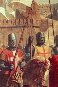 Cavalieri durante la battaglia di Ascalona nella prima crociata. Particolare di un dipinto di Charles-Philippe Lariviere
