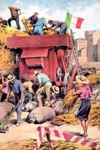Illustrazione di Walter Molino della Battaglia del grano