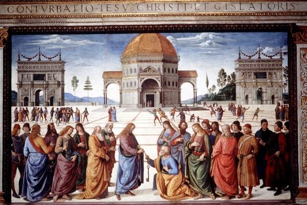 """La """" Consegna delle Chiavi """" del Perugino."""