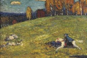 Il cavaliere azzurro di Wassily Kandinsky, olio su tela