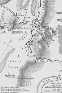 Assedio a Roma: mappa del piano di battaglia di Villa Corsini durante la prima guerra d'Indipendenza