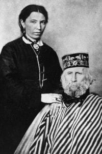 Giuseppe Garibaldi con la sua terza moglie, Francesca Armosino nel 1875
