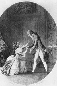 Illustrazione da Le relazioni pericolose: Valmont seduce Madame de Tourvel