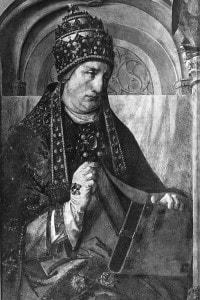 Dipinto su tavola raffigurante papa Gregorio Magno