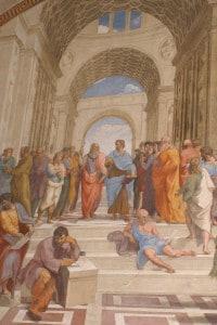 La scuola di Atene, affresco di Raffaello Sanzio situato ai Musei Vaticani nel cui centro sono raffigurati Platone e Aristotele