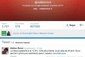Il primo tweet di Matteo Renzi sul Jobs Act