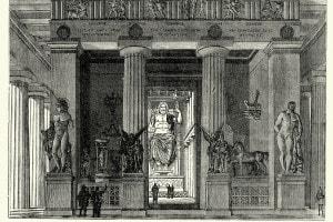 Ricostruzione del Tempio di Zeus a Olimpia, dove era presumibilmente collocata la statua oggi considerata una delle sette meraviglie del mondo antico