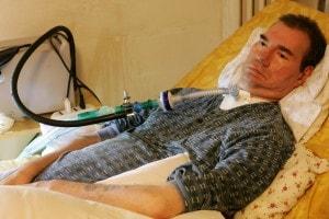 Piergiorgio Welby nel suo letto