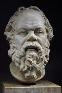 Testa in marmo raffigurante il filosofo Socrate, conservata al Louvre di Parigi