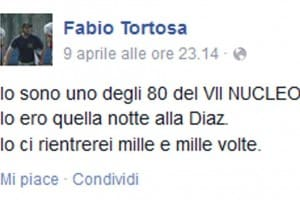 Il post su facebook di Fabio Tortosa