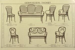 Sedie e divani dal catalogo dei Fratelli Thonet per l'Esposizione Universale di Londra
