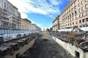Uno dei cantieri per le opere anti alluvione a Genova aperti con i fondi stanziati dalla struttura di missione contro il rischio idrogeologico di Palazzo Chigi 'Italia Sicura'
