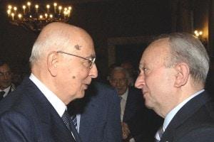 De Mauro con Napolitano nel 2006 all'Accademia dei Lincei