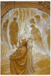 """Dante e Beatrice raffigurati nell'opera di Adolfo De Carolis: """"Paradiso"""""""
