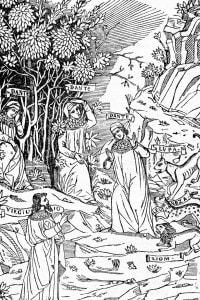 Alcuni dei personaggi della Divina Commedia: Dante, Virgilio, le belve