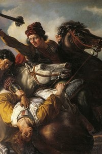 Farinata degli Uberti, capo dei ghibellini, dirante la battaglia di Serchio