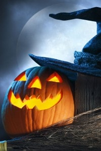Tipica zucca di Halloween illuminata