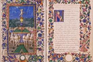 Dettaglio di un'opera miniata di Petrarca
