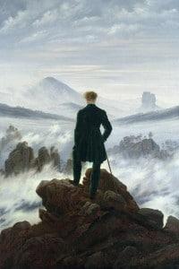 l viandante sul mare di nebbia (1818). Olio su tela del pittore romantico C.D. Friedrich