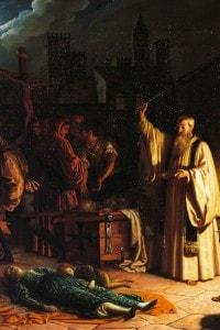 Baldassarre Calamai, dipinto raffigurante la peste del 1348 descritta da Boccaccio
