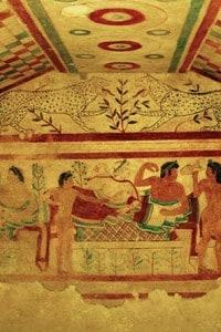 La più antica tomba dipinta nella necropoli dei Lucumoni, re e principi etruschi del VII secolo a.C.
