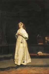 """""""La suora"""": dipinto del pittore Edward Tofano (1838-1920), olio su tela, Napoli, Museo Civico Di Castel Nuovo."""