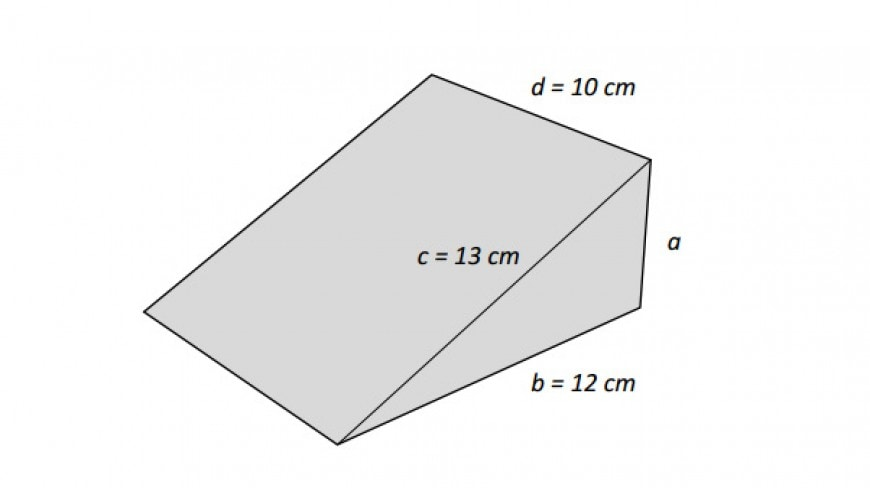 Per tenere aperte le porte a volte si usano dei cunei di legno come quello in figura. Lo spigolo a è perpendicolare allo spigolo b e allo spigolo d. Due cunei come quello in figura vengono incollati in modo da formare un parallelepipedo rettangolo. Quali sono le dimensioni del parallelepipedo così ottenuto?