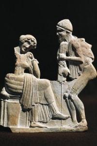 Rappresentazione in terracotta di Ulisse e Penelope
