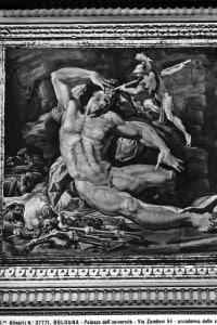 Ulisse acceca Polifemo. Particolare delle Storie di Ulisse, affrescate da Pellegrino Tibaldi nella sede dell'Accademia delle Scienze a Bologna