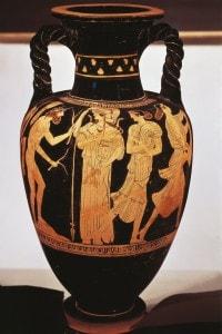 Vaso raffigurante Ulisse, Nausicaa e Atena