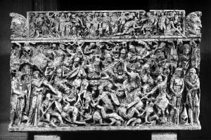 Sarcofago con battaglia tra romani e barbari