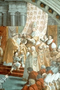 Incoronazione di Carlo Magno, affresco, Raffaello Sanzio e allievi, 1515-1516, Palazzo Apostolico Vaticano.