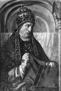 Papa Gregorio Magno. Dipinto di Giusto di Gand, collocato all'interno del Palazzo Ducale di Urbino