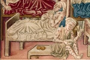 """Malati di peste in un'illustrazione del testo volgare umbro """"La Franceschina"""", XVI secolo"""