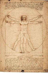 L'uomo vitruviano di Leonardo da Vinci, 1490 circa, penna e inchiostro su carta