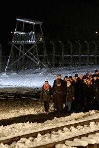 Foto scattata durante la commemorazione del 70° anniversario della liberazione di Auschwitz