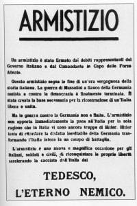 Un manifesto del CLN in occasione dell'armistizio tra Italia e alleati