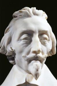 Dettaglio del volto del cardinale Richelieu, realizzato da Gian Lorenzo Bernini