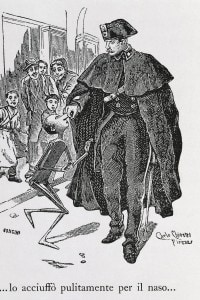 Pinocchio con un poliziotto (Illustrazione di Carlo Chiostri, 1863-1939)