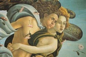 """Dettagli dei venti nella lato sinistro del dipinto """"Nascita di Venere"""" di Botticelli"""