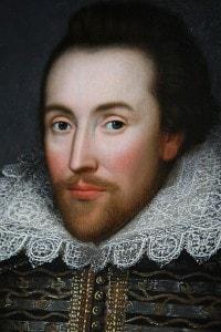 """Ritratto del """"bardo"""", William Shakespeare. I suoi drammi sono l'emblema del teatro inglese del '600, che prende il nome di Elisabettiano"""