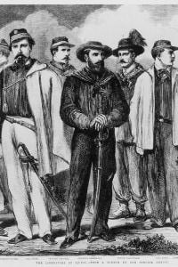 Giuseppe Garibaldi e i Cacciatori delle Alpi durante la Battaglia di Milazzo nel 1860