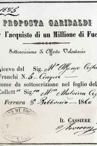 Proposta di Giuseppe Garibaldi per l'acquisto di fucili, l'8 febbraio del 1860