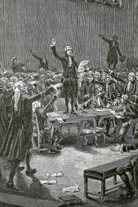 Giuramento della Pallacorda nel 1789, in Francia